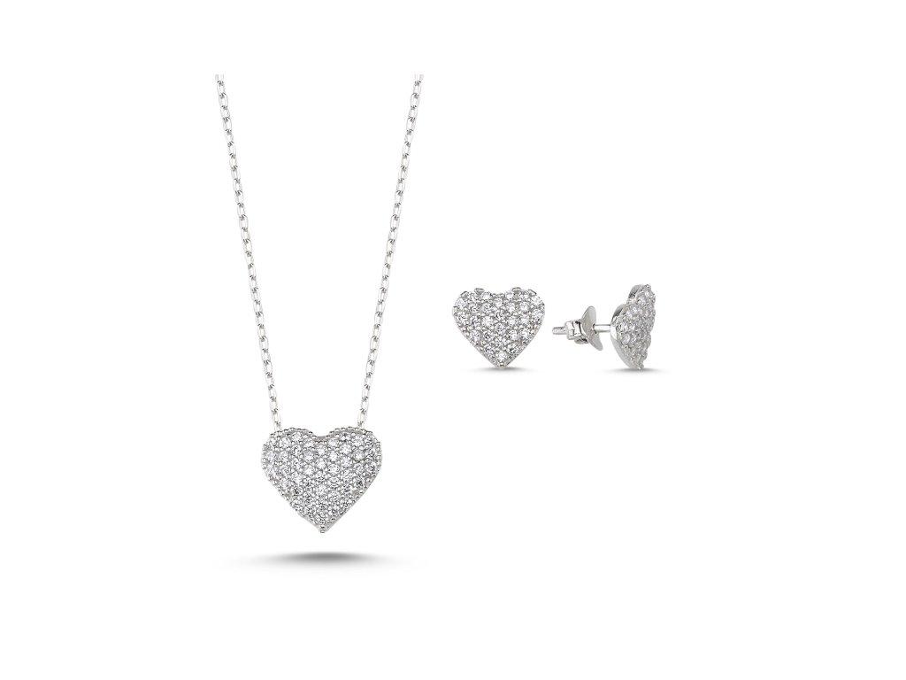 3427 Sada strieborných šperkov SRDCE