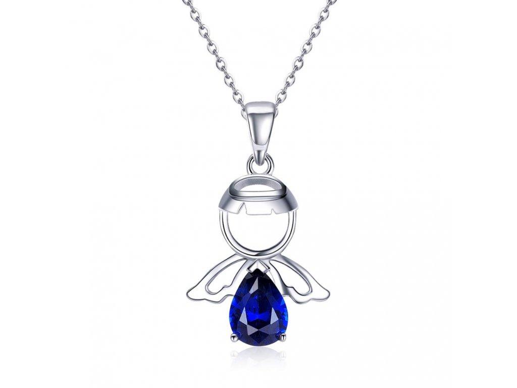 3498 Strieborný náhrdelník MODRÝ ANJEL