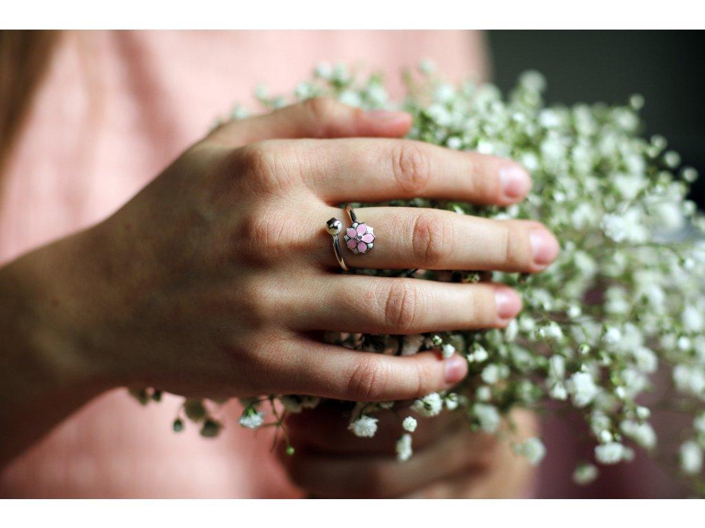 Stříbrný prsten SAKURA