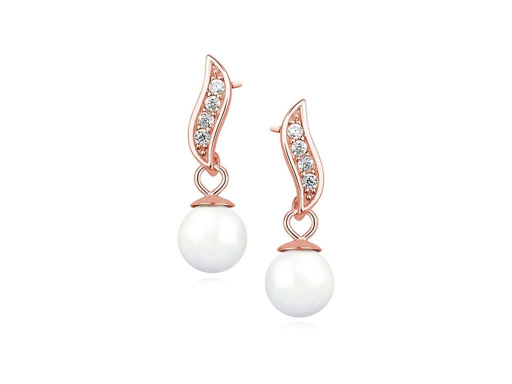 3588 Strieborné perlové náušnice ROSE