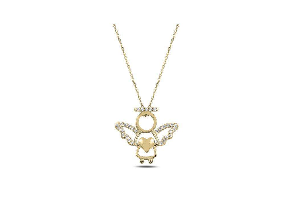 3694 Strieborný náhrdelník ZLATÝ ANJEL