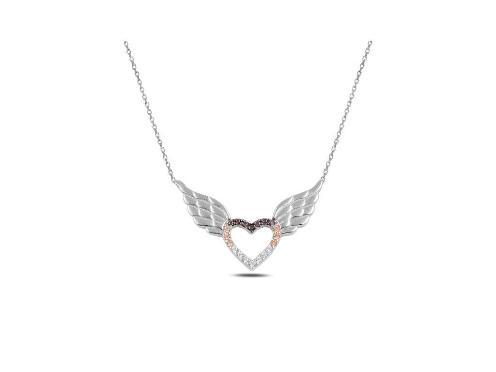 3695 Strieborný náhrdelník SRDCE S KRÍDLY