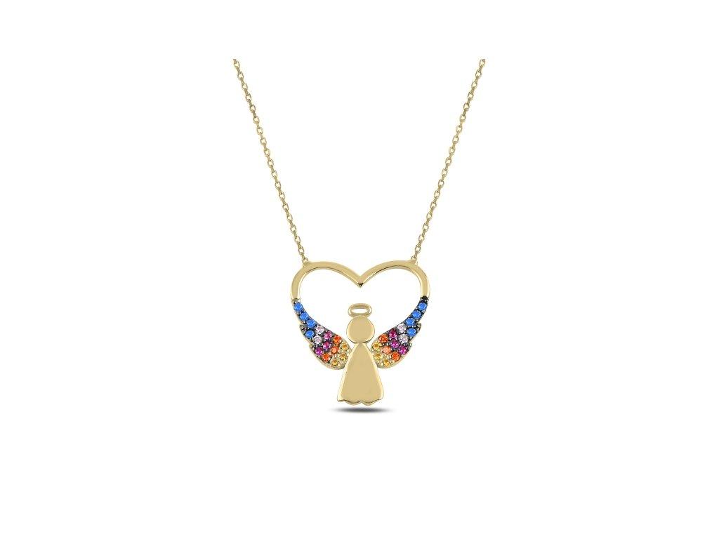 3697 Strieborný náhrdelník ZLATÉ SRDCE S ANJELOM