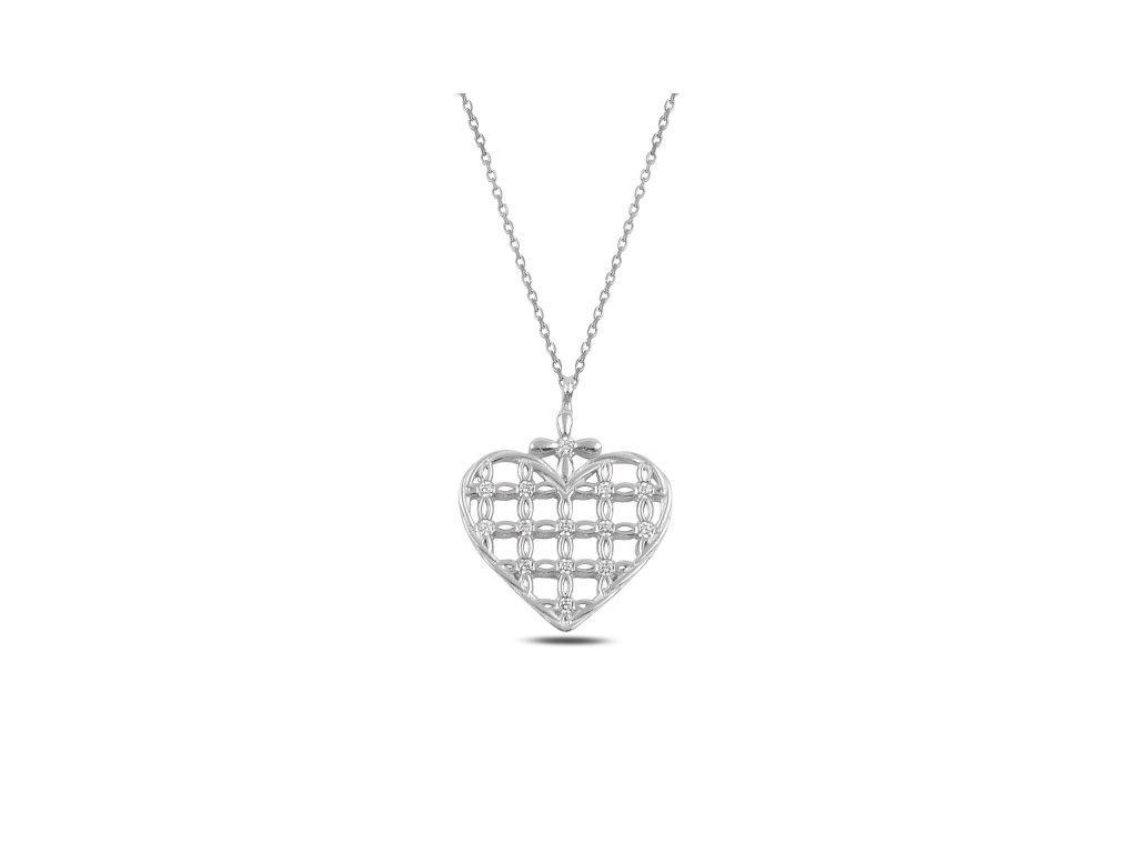 3698 Strieborný náhrdelník SRDCE