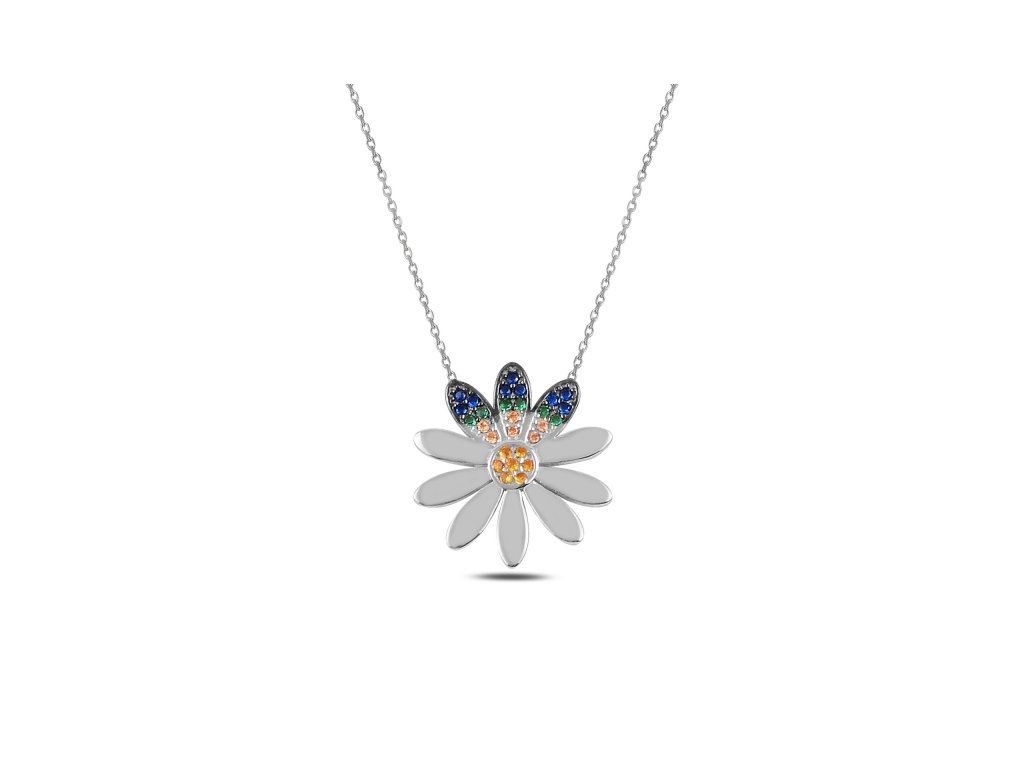 3699 Strieborný náhrdelník MODRÝ KVIETOK