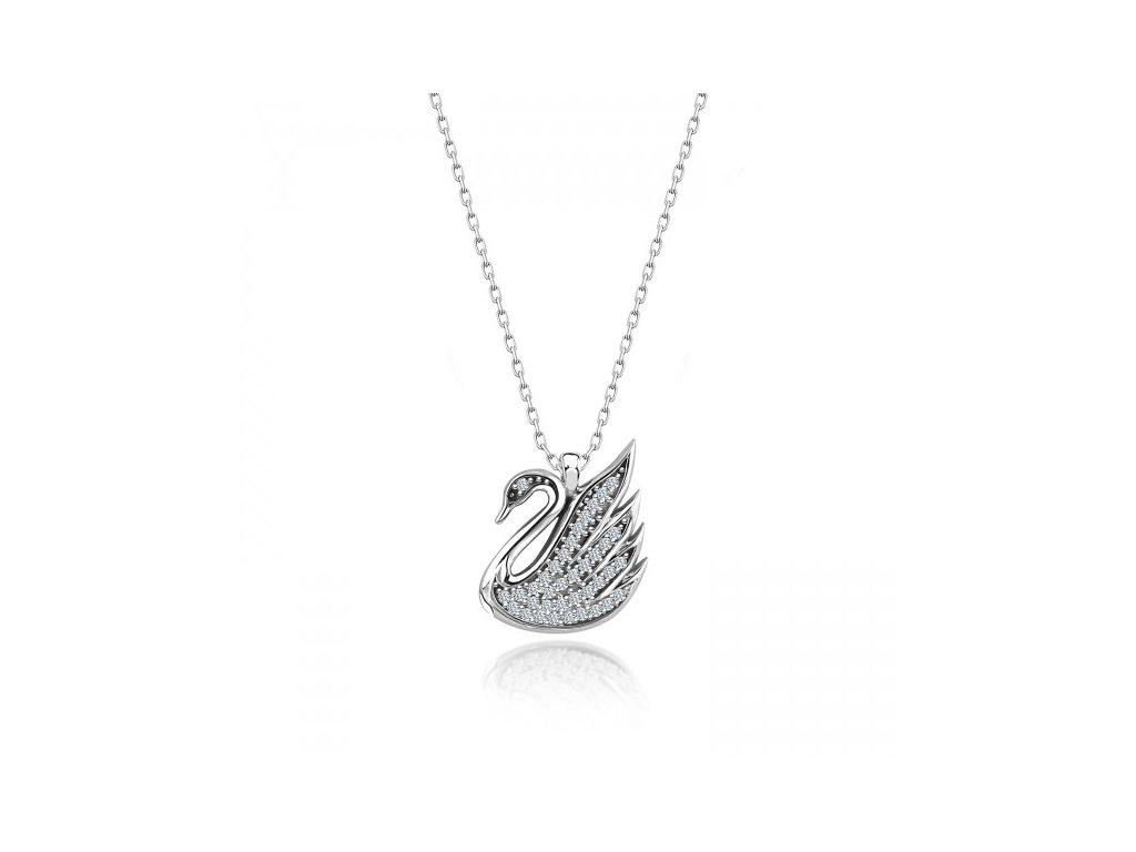 Strieborný náhrdelník LABUŤ Swarovski