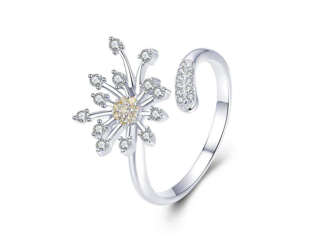 3791 Strieborný nastavitelný prsteň KVET