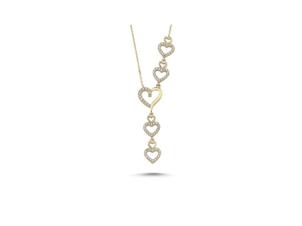 3855 Srdiečkový strieborný náhrdelník GOLD