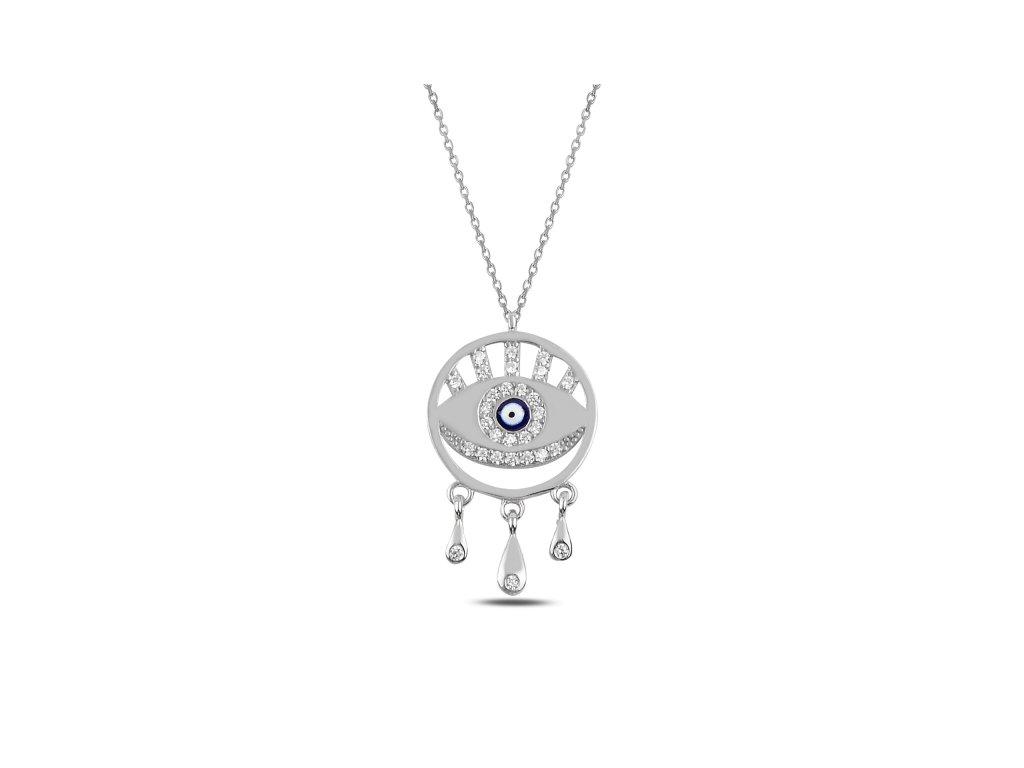 3856 Strieborný náhrdelník MODRÉ OKO