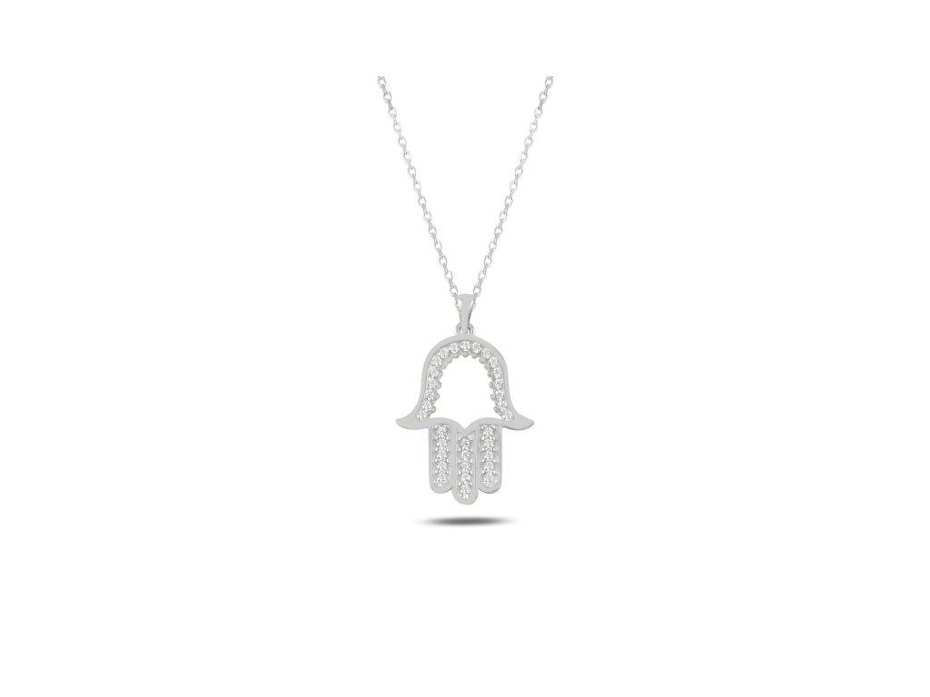 3859 Strieborný náhrdelník HAMSA
