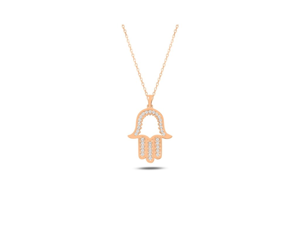 3860 Strieborný náhrdelník HAMSA ROSE