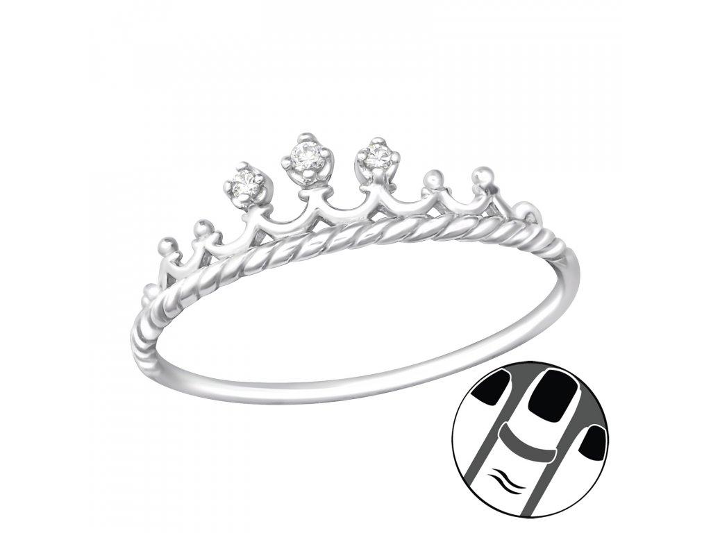 4013 Strieborný midi prsteň KORUNKA