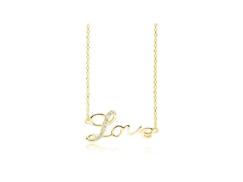 4081 Strieborný náhrdelník LOVE GOLD