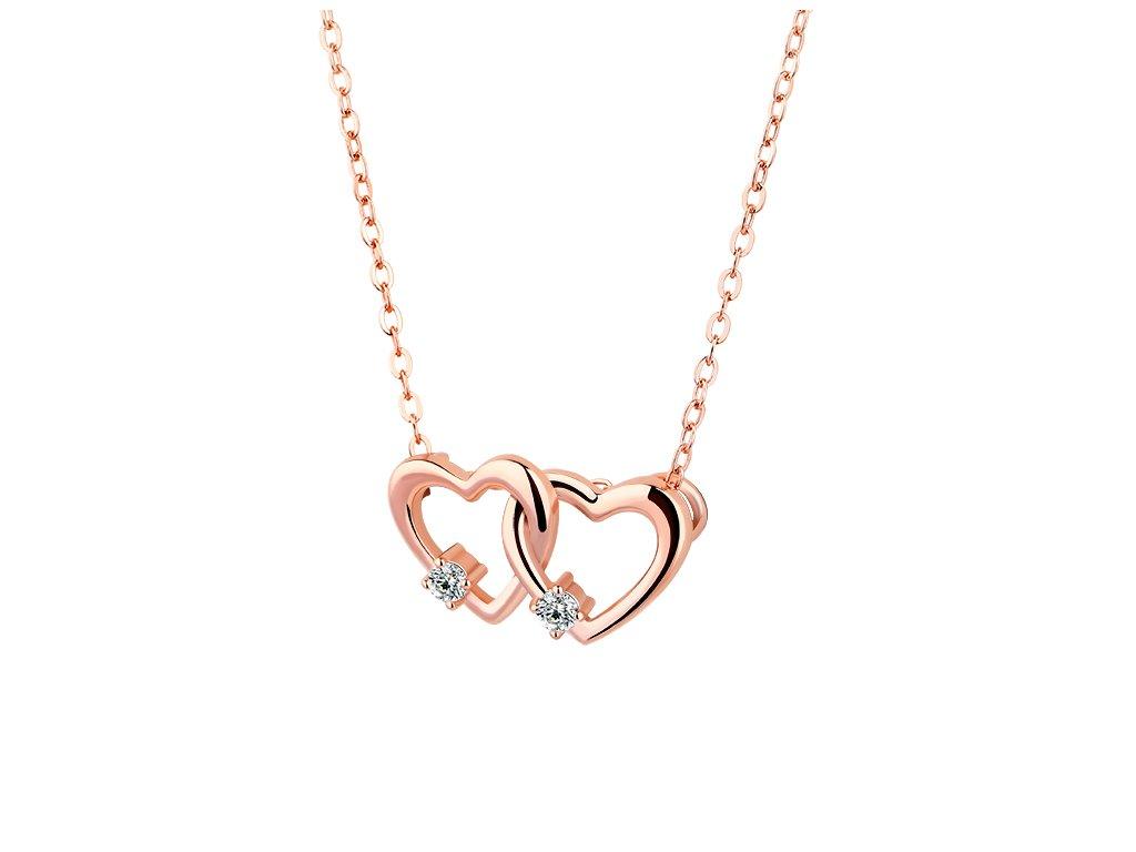 4116 Strieborný náhrdelník SPOJENÁ SRDCE ROSE
