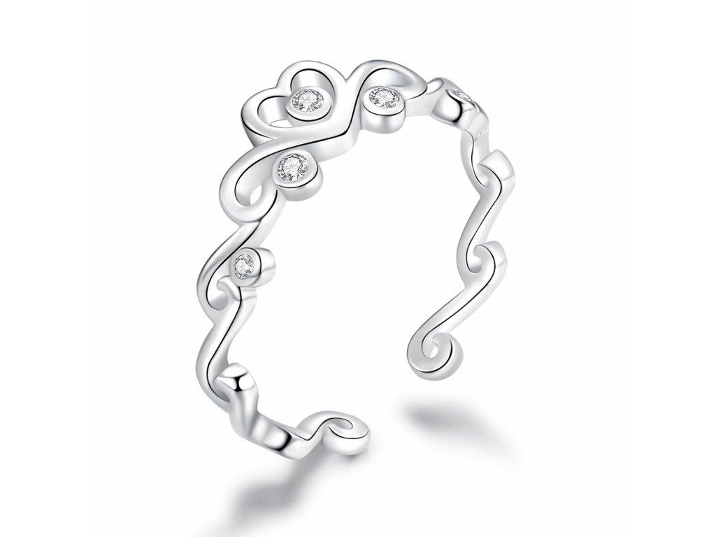 4245 Strieborný prsteň LÁSKA