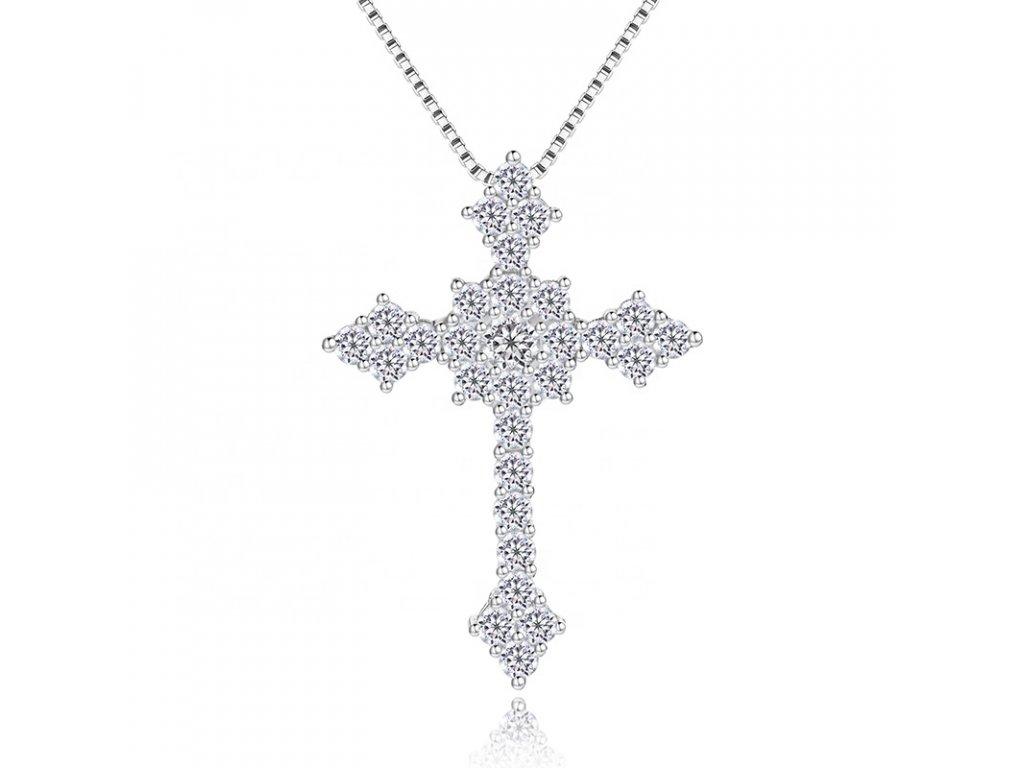 Luxusní a třpytivý stříbrný přívěsek KŘÍŽEK se zirkony od OLIVIE