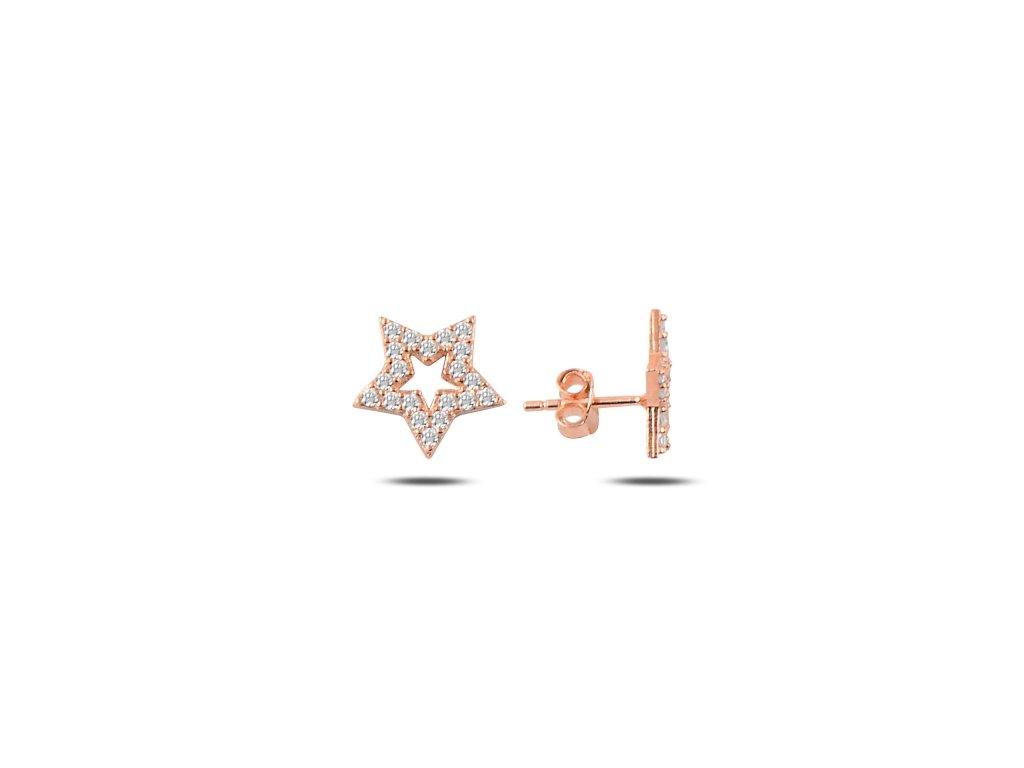 Stříbrné náušnice HVĚZDA ROSE růžově zlacené od OLIVIE