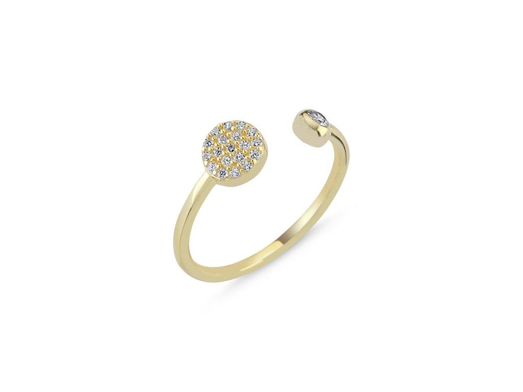 Stříbrný prsten GOLD pozlacený - nastavitelná velikost od OLIVIE