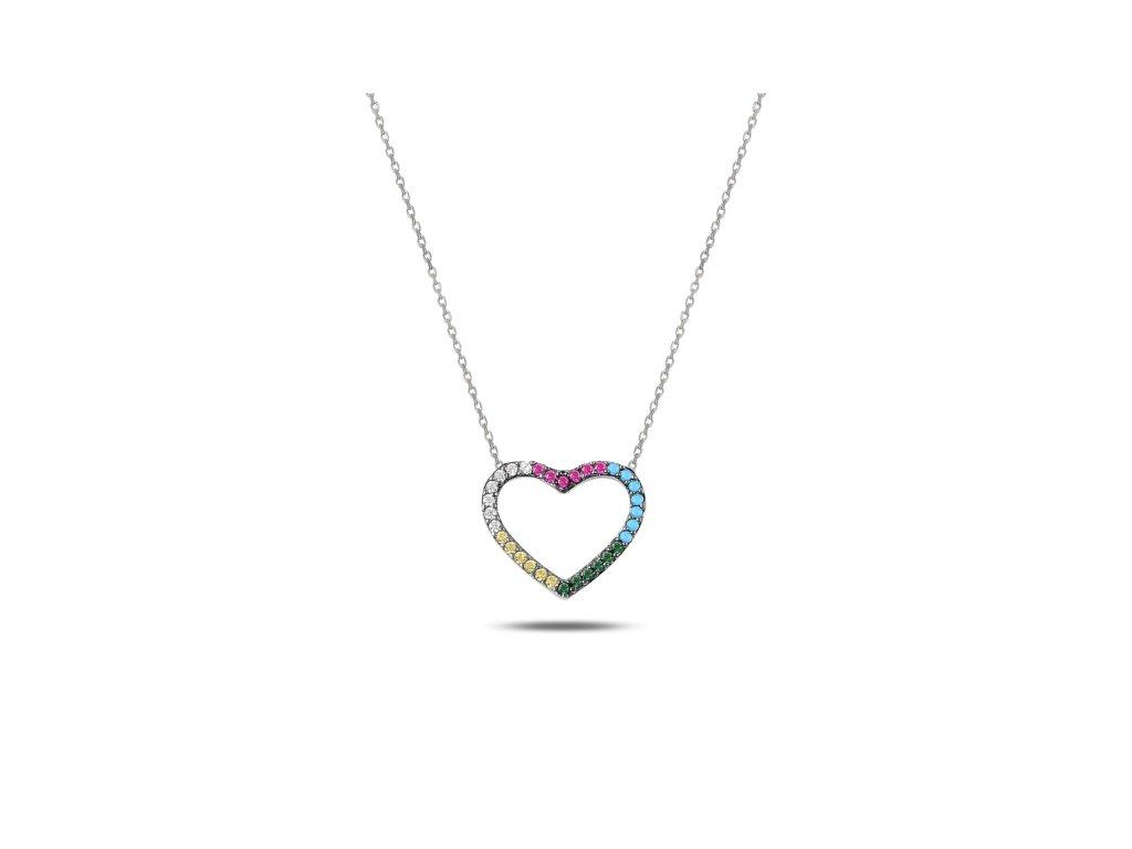 Stříbrný náhrdelník BAREVNÉ SRDCE od OLIVIE