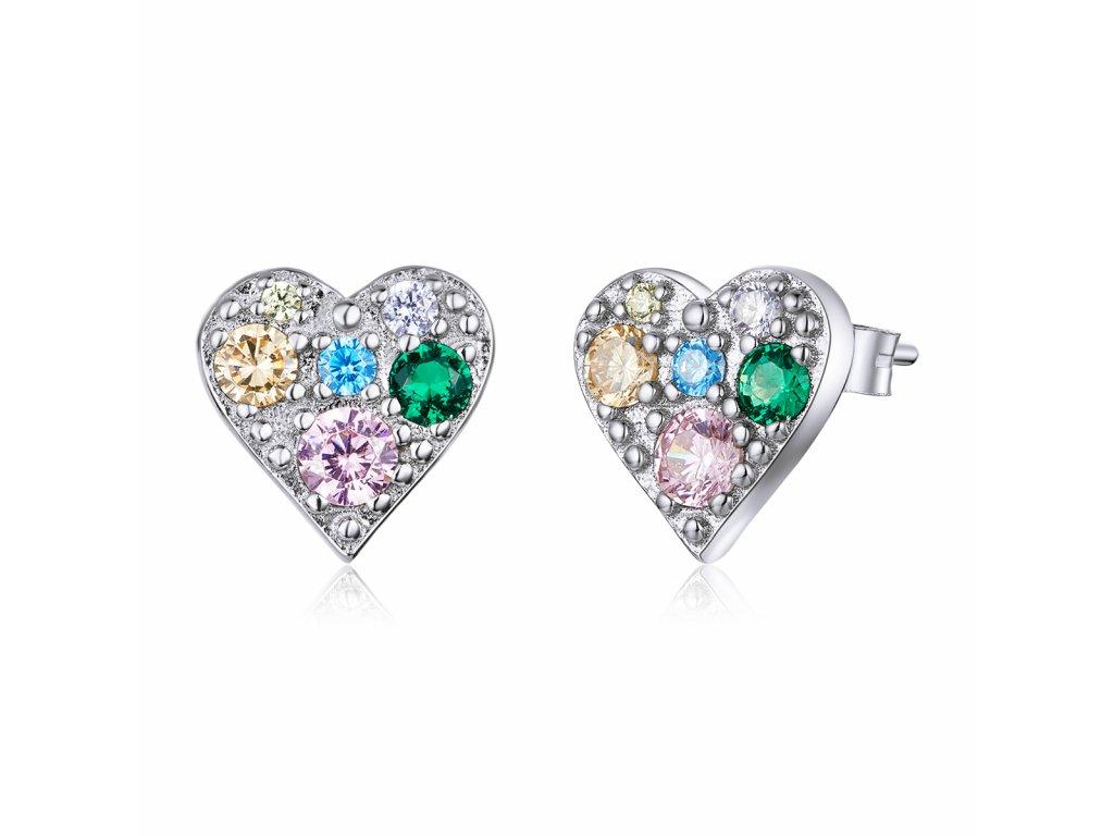 Stříbrné náušnice TŘPYTIVÉ BAREVNÉ SRDCE od OLIVIE, krásný dárek pro ženu k narozeninám, Valentýnu, Vánocům.