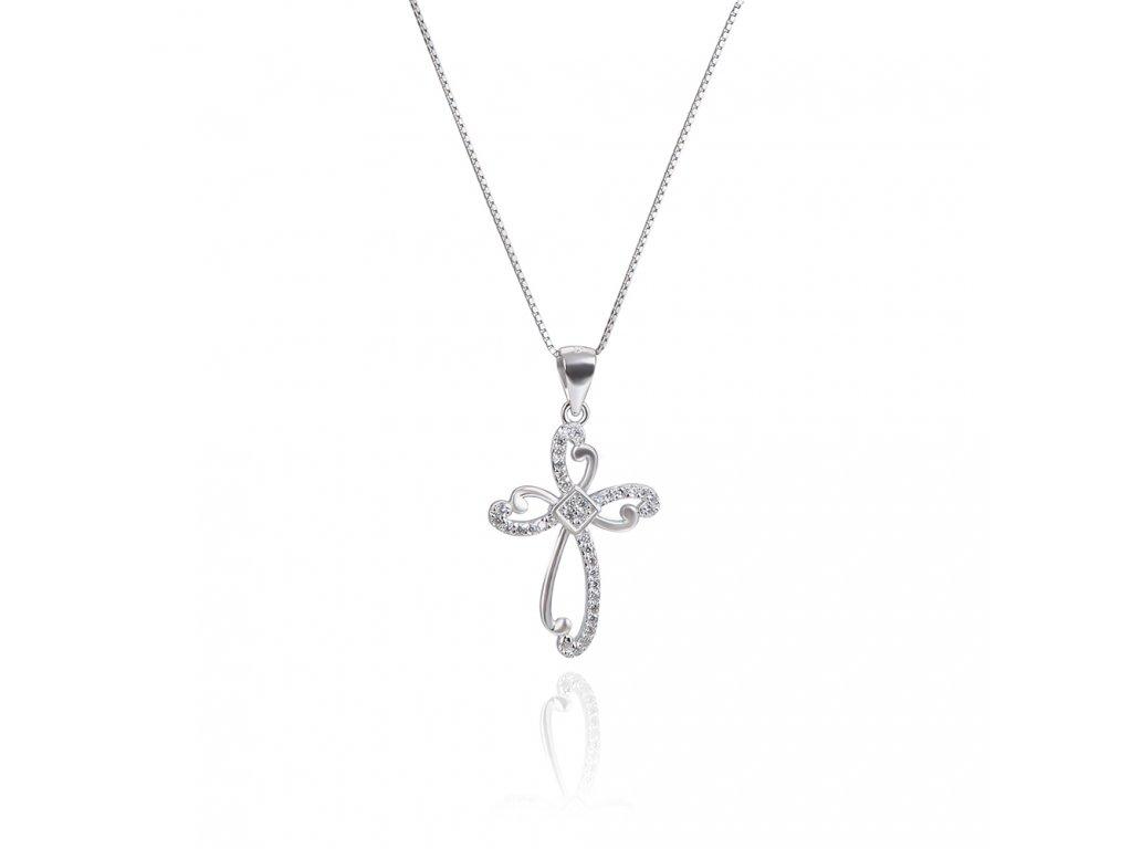 Stříbrný náhrdelník krásný ZIRKONOVÝ KŘÍŽEK od OLIVIE