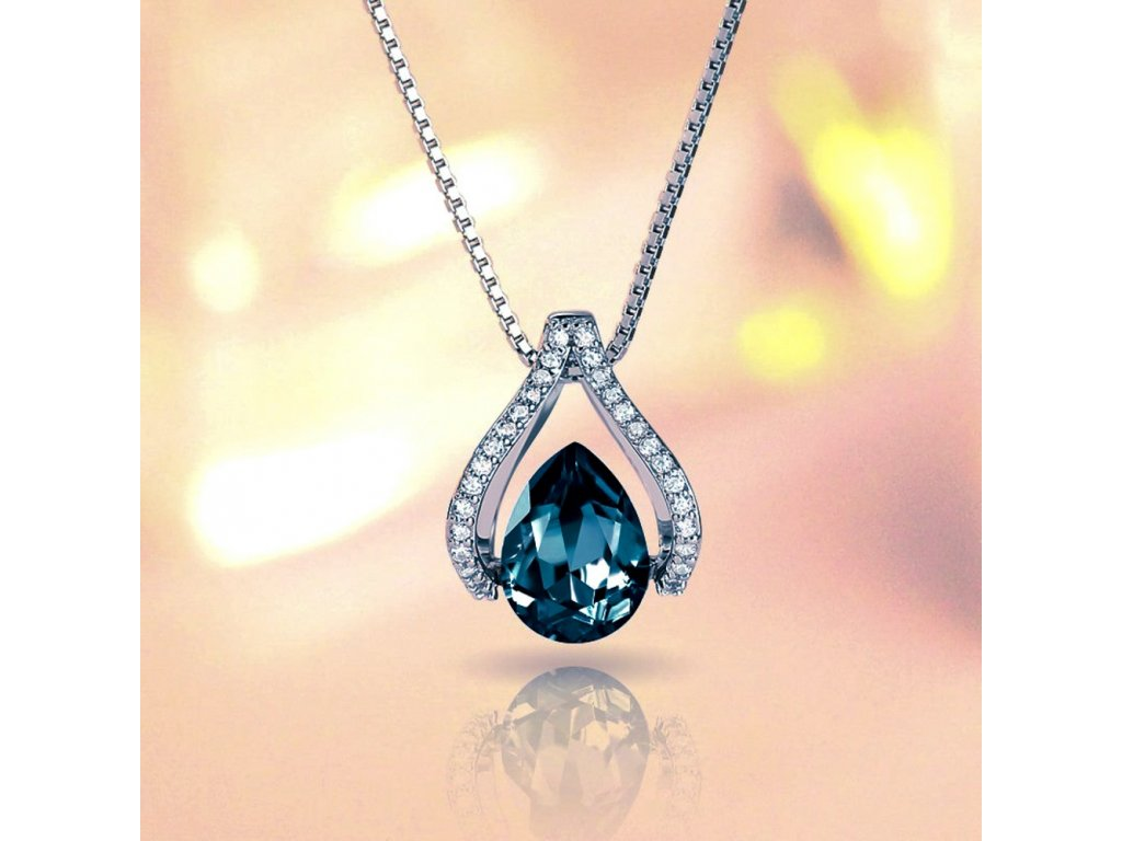 Stříbrný náhrdelník MODRÝ ZIRKON od OLIVIE