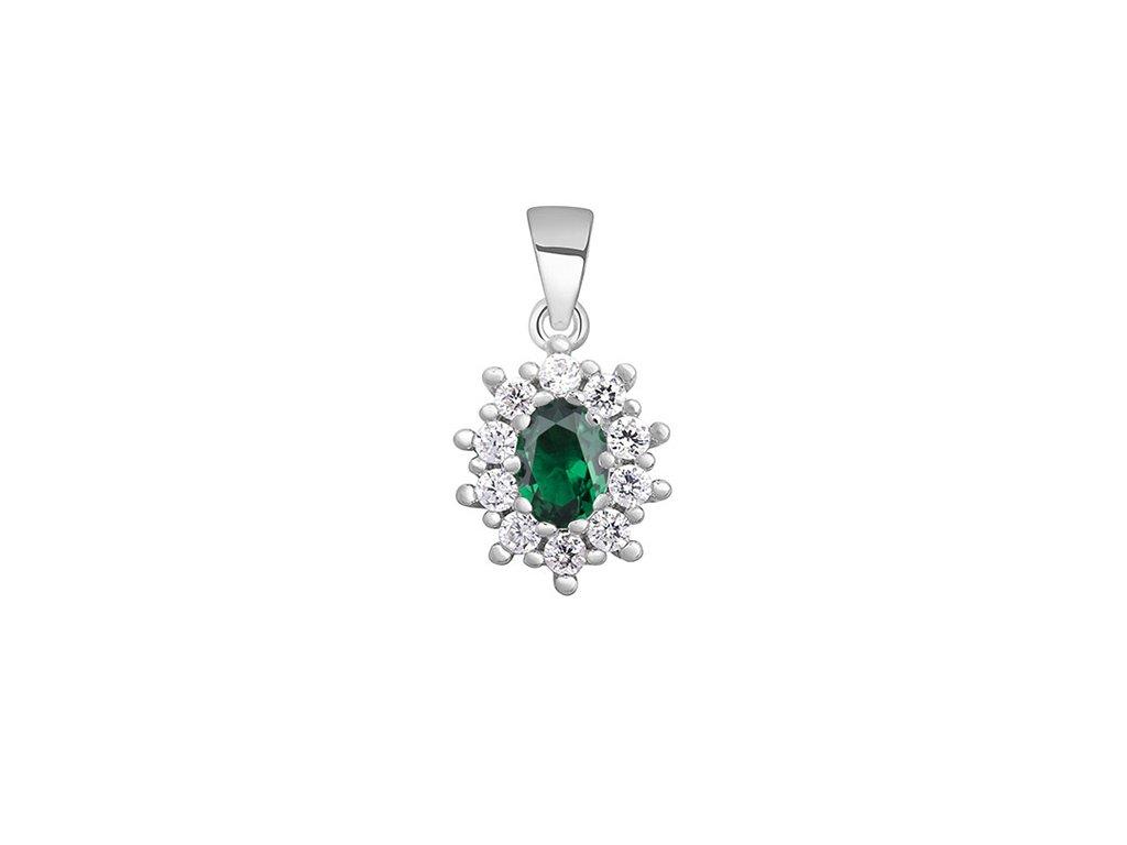 15302 stribrny smaragdovy privesek od olivie