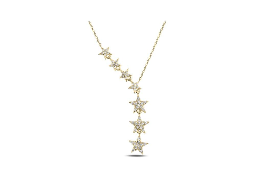 15326 padajici hvezdy gold stribrny nahrdelnik od olivie