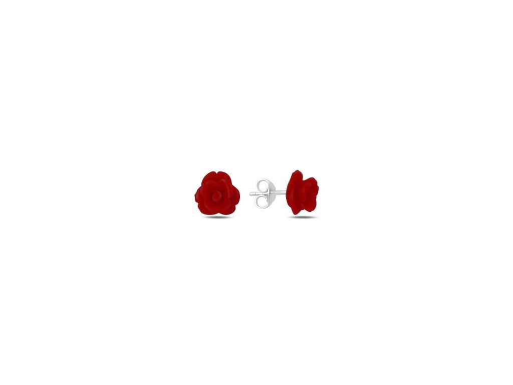 15386 stribrne nausnice rozarie cervena ruzicka od olivie