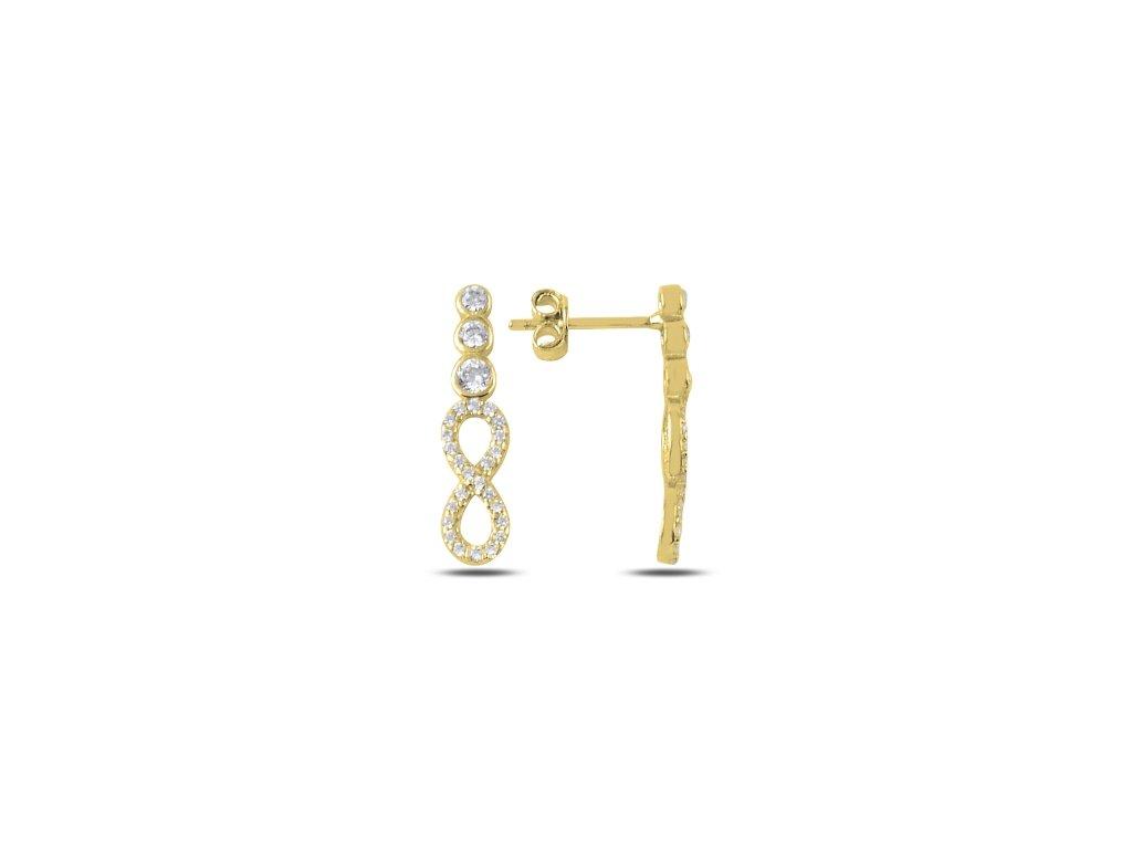 15422 stribrne nausnice zlate nekonecno pozlacene