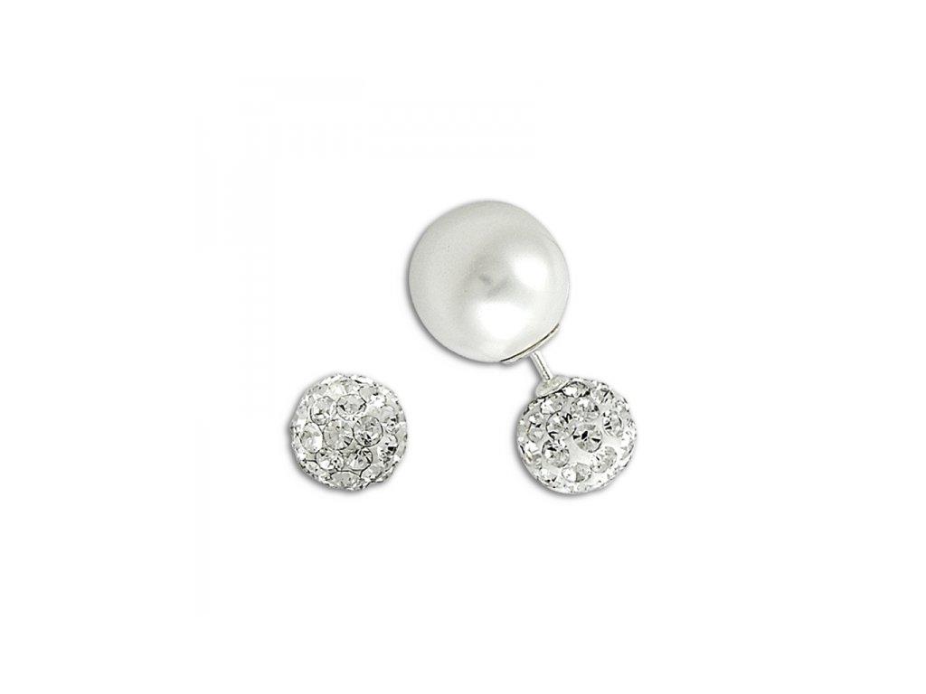 17768 stribrne dvojite nausnice s perlou a zirkony od olivie