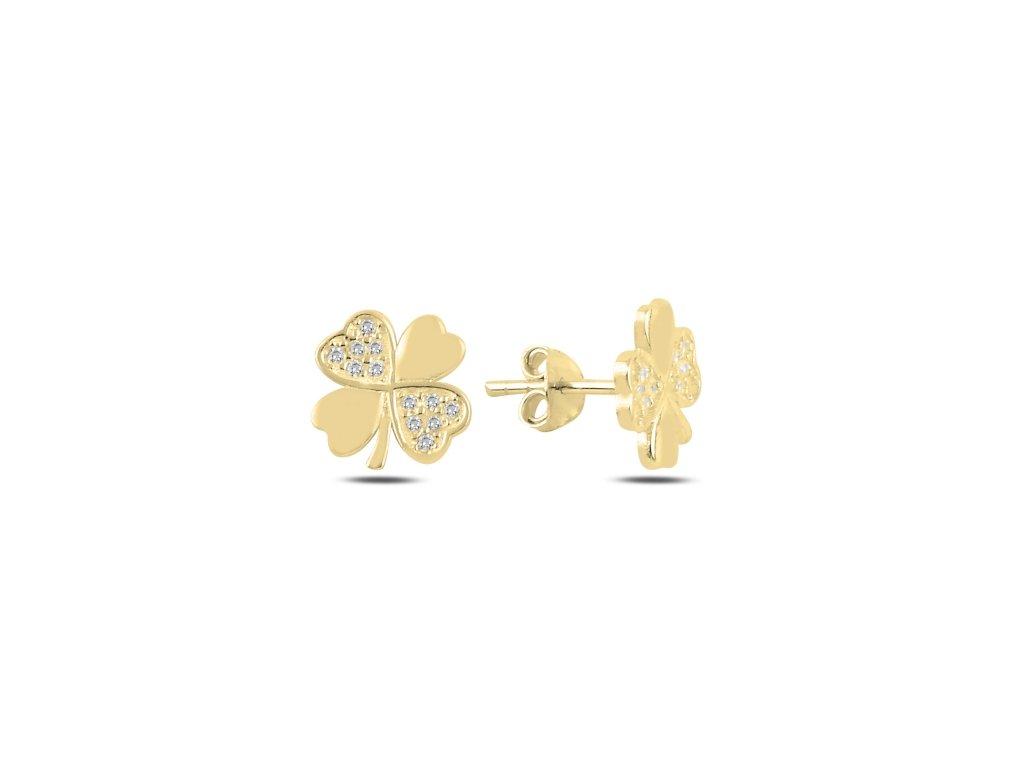 17831 stribrne pozlacene nausnice ctyrlistek gold od olivie