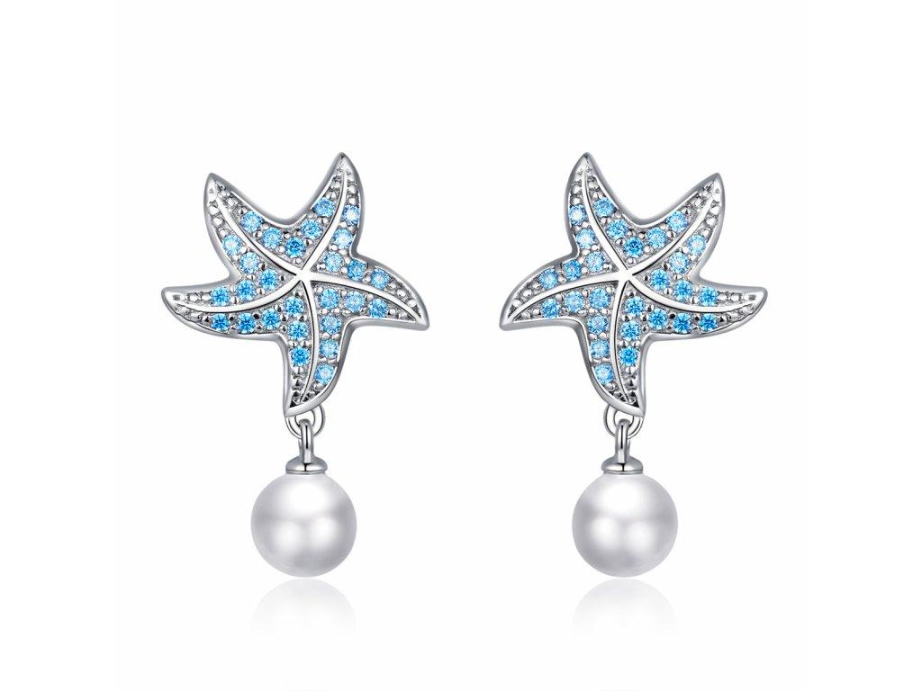 stribrne nausnice hvezdice s perlou od olivie