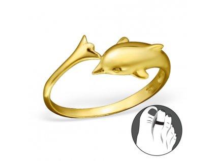0305 Strieborný prsteň na nohu DELFÍN GOLD