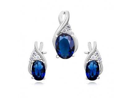 0748 Elegantná sada strieborných šperkov s modrými zirkónmi