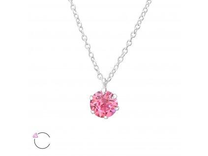 0976 Strieborný náhrdelník s kryštálom Swarovski ROSE