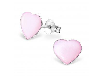 1015 Strieborné náušnice s perleťou PINK