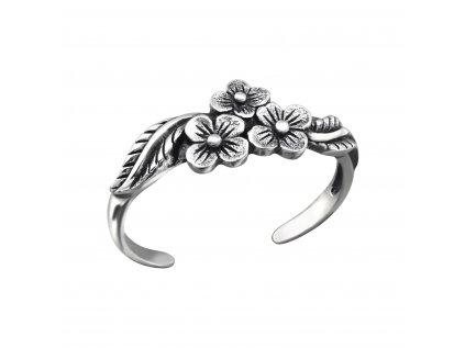 1220 Strieborný kvetinový prsteň na nohu