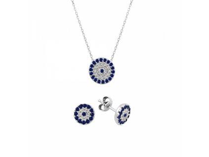 1269 Sada strieborných šperkov so zirkónmi BLUE