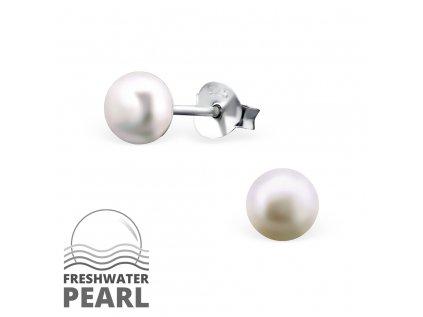 1302 Strieborné náušnice s perlou
