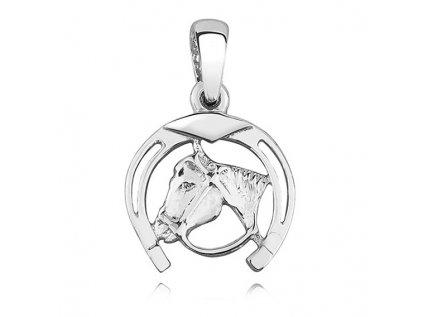 1764 Strieborný prívesok PODKOVA s koňom