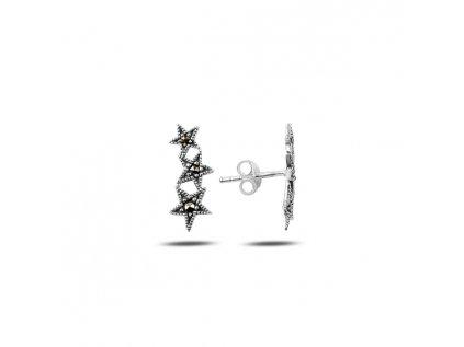 1881 Strieborné náušnice STARS