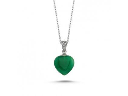 1890 Strieborný náhrdelník Agáta SRDCE GREEN