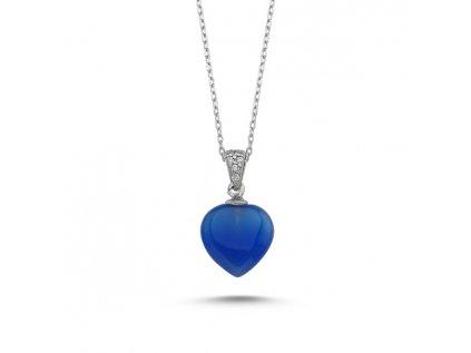 1891 Strieborný náhrdelník Agáta BLUE