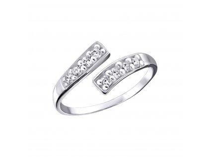 2094 Strieborný prsteň na nohu so zirkónmi