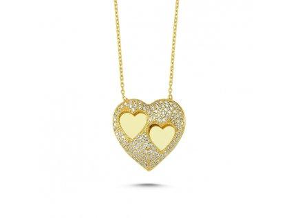 2152 Strieborný náhrdelník ZLATÉ SRDCE