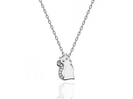 Strieborný náhrdelník MAČKA so Swarovski kryštálmi
