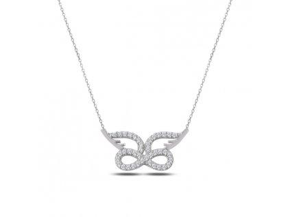 2330 Strieborný náhrdelník NEKONEČNO S KRÍDLAMI