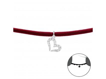 2488 Choker náhrdelník SRDCE so zirkónmi