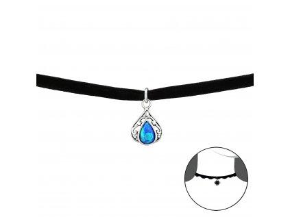 2491 Choker náhrdelník SLZA s opálom